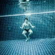 Persons standing under water in a swimming pool — Stock Photo #65048981