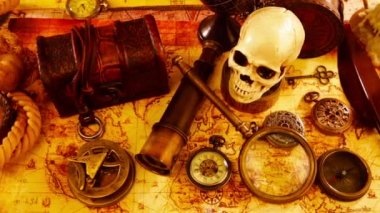 Vintage magnifying glass, compass, telescope and a pocket watch lying on ancient world map in 1565. — Stock Video