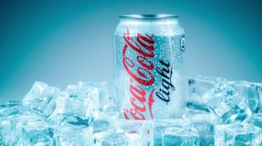 MOSCOW, RUSSIA-APRIL 4, 2014: Can of Coca-Cola Lignt on ice. Coca-Cola is a carbonated soft drink sold in stores, restaurants, and vending machines throughout the world. — Stock Video