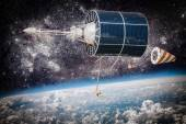Space satellite over the planet earth — Stock Photo