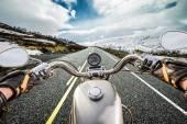 Biker First-person view, mountain serpentine. — Stock Photo