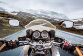 Biker First-person view, mountain pass in Norway — Stock Photo
