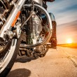 Biker girl riding on a motorcycle — Stock Photo #81872054