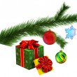 Christmas tree fir branch with gifts — Stock Photo #59984445