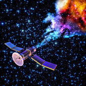 Falling artificial satellite has burned up — Stock Photo