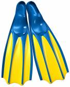 Swim fins with blue rubber and yellow plastic — Stock Photo