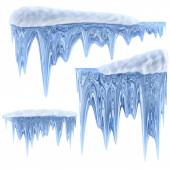 Set of hanging thawing icicles of a blue shade — Stock Photo