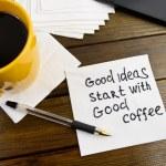 Super ideas start with good coffee -  handwriting on a napkin — Fotografia Stock  #83442868