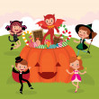 Children at Halloween party — Stock Vector #52759563