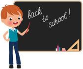 Schoolboy standing at the blackboard — Stock Vector
