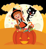Witch and her cat celebrate Halloween — 图库矢量图片