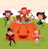 Children at Halloween party — Stock Vector
