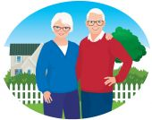 Elderly husband and wife are in their household — Stock Vector
