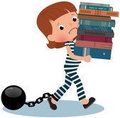 Girl schoolgirl prisoner with books in their hands — Vettoriale Stock