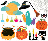 Set of magical symbols of Halloween — Stock Vector