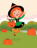 Girl in witch costume celebrates Halloween — Stock Vector
