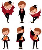 Set of Halloween vampire in various poses — Stock Vector