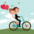 Newlyweds  bike — Stock Vector #55205421