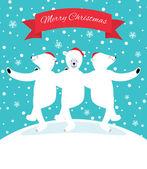 Three polar bears dancing — Stok Vektör