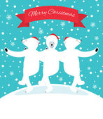 Three polar bears dancing — Stockvektor