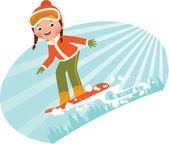 Girl on snowboard — Stock Vector