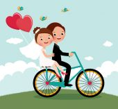 Newlyweds  bike — Stockvektor