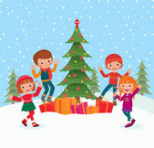 Children celebrate Christmas — Vector de stock