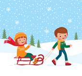 Children winter sledding — Wektor stockowy