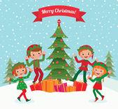 Elfové a vánoční stromeček — Stock vektor