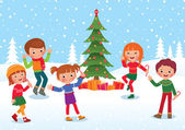 Children celebrate Christmas and New Year — Vector de stock