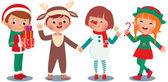 Children celebrating Christmas in Christmas Costumes — Stock Vector