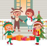 Children on the doorstep in Christmas Costumes — Stockvektor