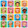 Icon set portraits of boys and girls in the Santa hat — Stock Vector #58619755