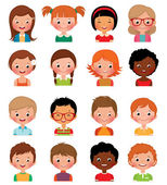 Set of avatars of different boys and girls — Stock Vector