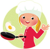 Chef flipping an fried eggs or a omelette — Stock Vector