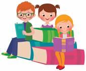 Children reading books — Stock Vector
