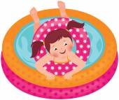 Little girl splashing in the summer inflatable pool — Stock Vector