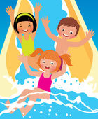 Child boys and girl playing in water park — Stock Vector