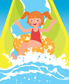 Children girl playing in water park in summer — Stock Vector