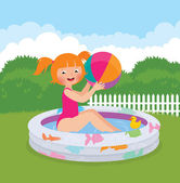 Little girl splashing in an inflatable pool in his backyard — Stock Vector