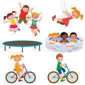 Summer children activities — Stock Vector