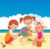 Three friends playing on the beach — Stock Vector