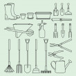 Linear illustration set of garden tools and accessories — Stock Vector #64607397