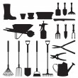 Set of silhouettes of objects garden tools — Stock Vector #64607407