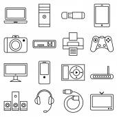 Set of linear icons computer and other equipment — Stock Vector