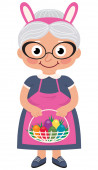Grandmother holding a basket with Easter eggs — Wektor stockowy