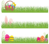 Set of Easter banners grass and Easter eggs — Stock Vector