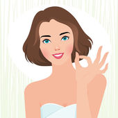 Concept fresh beautiful girl body care — Stock Vector