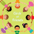 Friendship children of the world, the circle of girls and boys of different races — Stock Vector #71779391