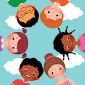 Happy kids in a circle — Vector de stock